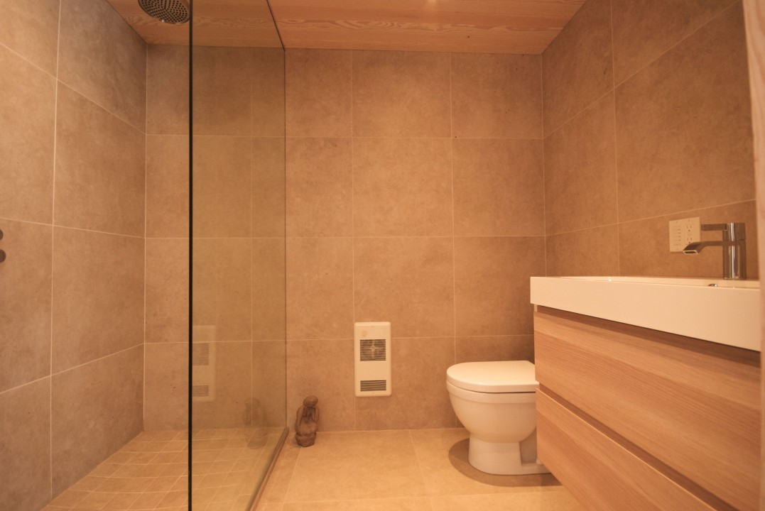Walk in shower in en-suite bathroom.