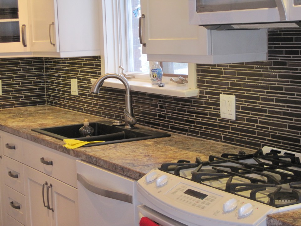 Glass mosaic kitchen back-splash