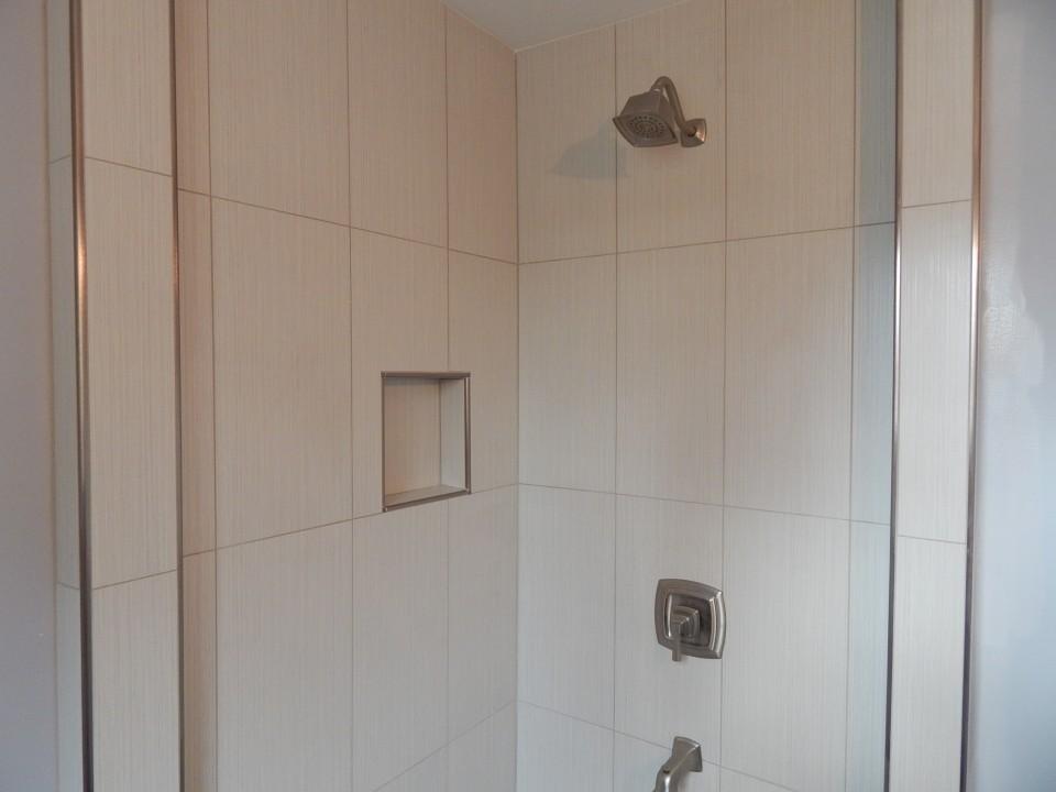 Tiled Corner Shower - creativetilingsolutions