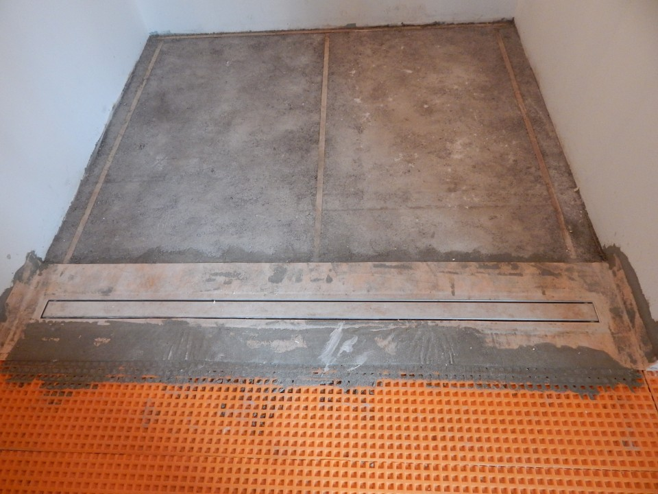 Shower Mortarbed And Tile Able Schluter Linear Drain.