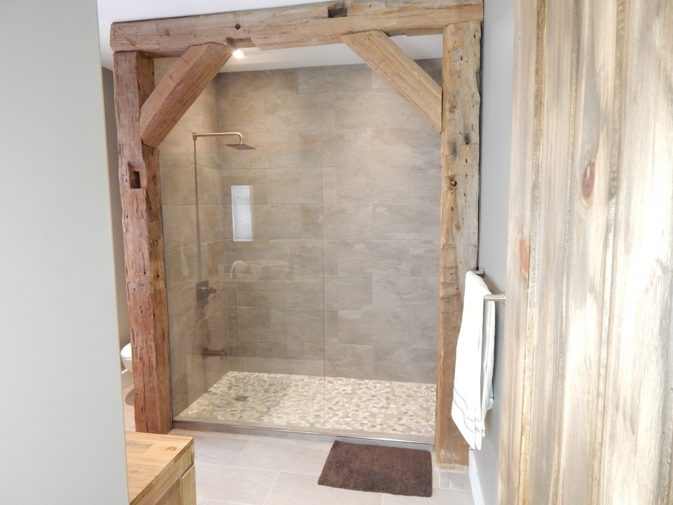 Rustic Bathroom with Walk-In-Shower